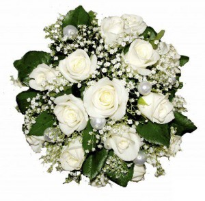 bouquet of white roses and baby's breath